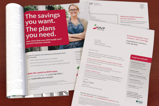 MVP print ad shown in magazine next to an MVP letter and envelope