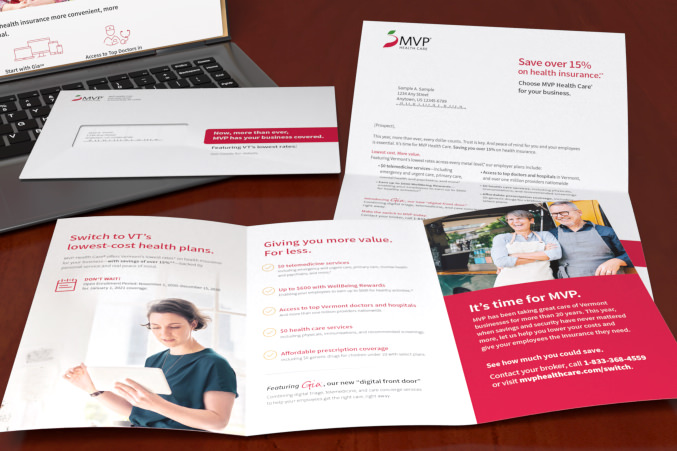 MVP letter package with opened brochure, letter and envelope