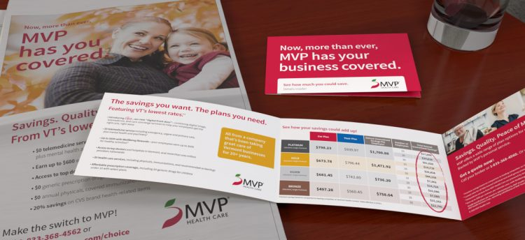 MVP print ad in a newspaper with an opened MVP self mailer