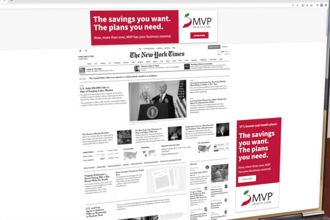 Two MVP banner ads shown on laptop
