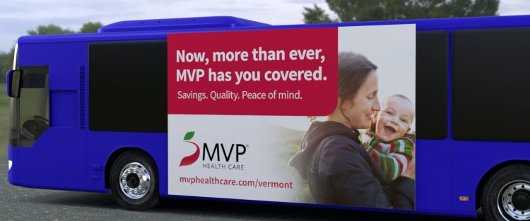 MVP consumer ad shown on the side of a bus