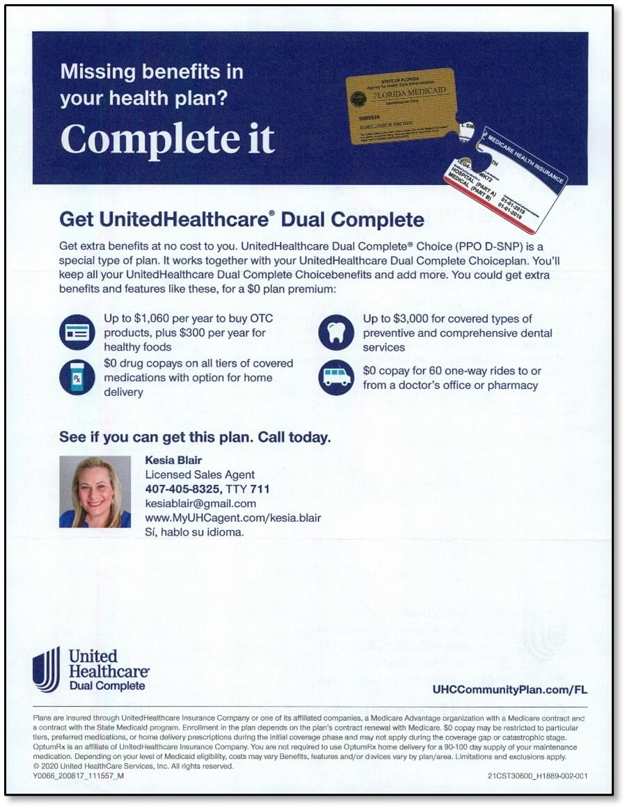 HC Insights - 2021 D-SNP plans direct mail creative - UnitedHealthcare