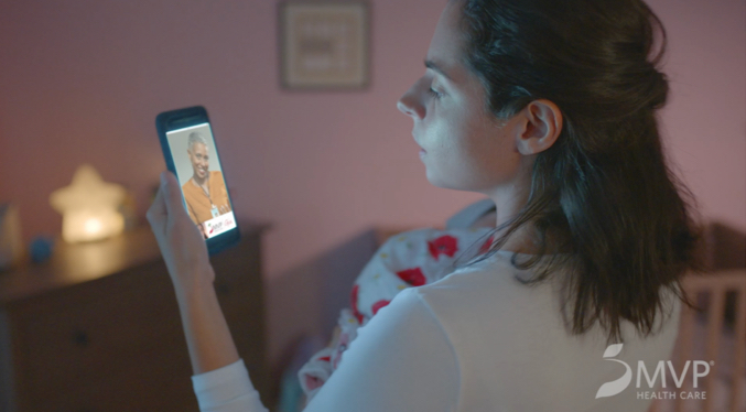MVP TV still of mom virtually consulting with doctor